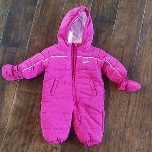 Nike hooded fleece lined snowsuit w/gloves